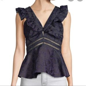 Rebecca Taylor sleeveless Aly peplum top size 8